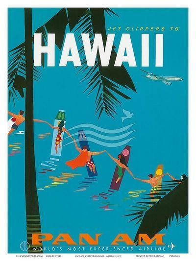 Hawaii vintage travel poster USA