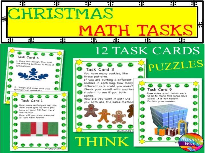 CHRISTMAS MATH Activity Task Cards MATH STATIONS Thinking Activities SET 2