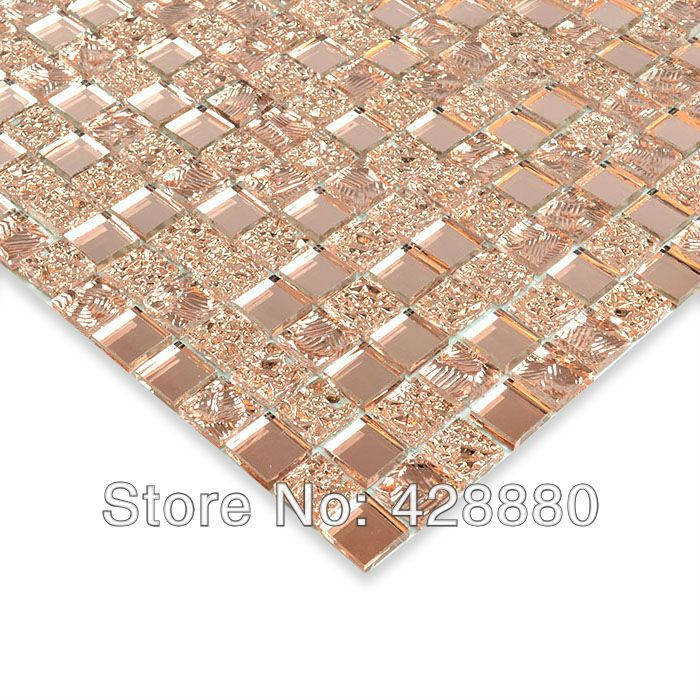 Crystal Glass Wall Tiles Mirror Tile Backsplash Kitchen ideas Mirror Mosaic Tile designs Bathroom Mirrored Wall stickers HS0029-in Mosaics f...