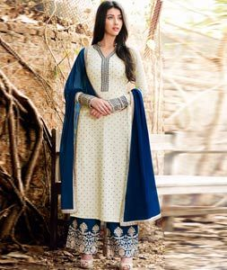 Off White Georgette Palazzo Style Suit 88927