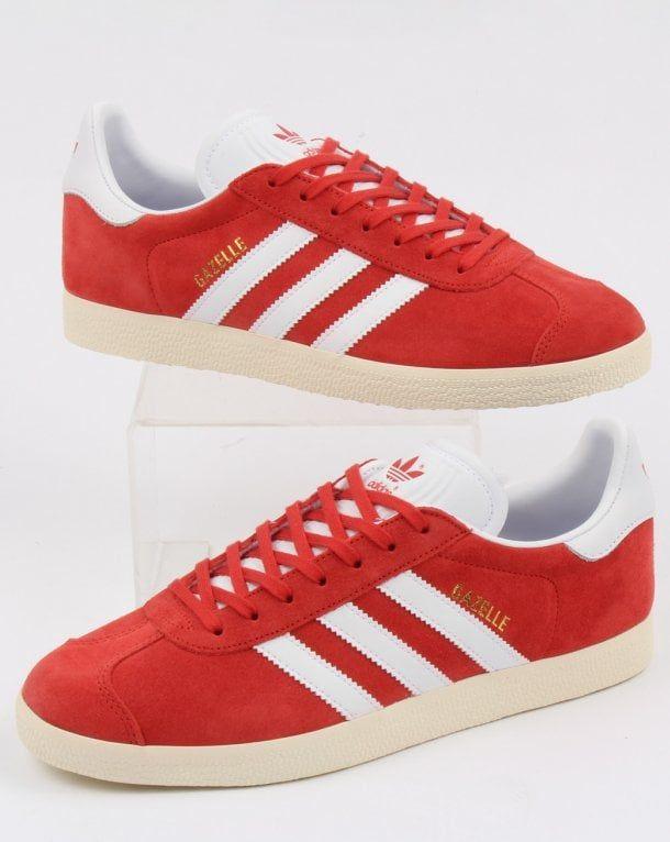 Adidas Gazelle Trainers Red/white vintage   Adidas gazelle, Adidas ...