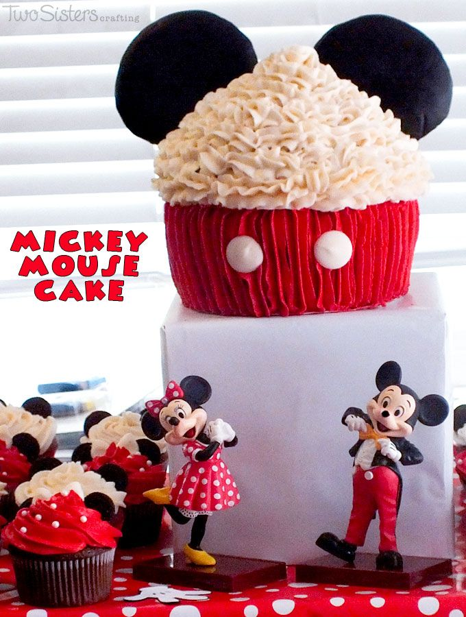 Mickey Mouse Cake for a Mickey Mouse Birthday Party made with a Giant Cupcake Cake Pan. And for more fun Mickey Mouse Party Ideas follow us at http://www.pinterest.com/2SistersCraft/