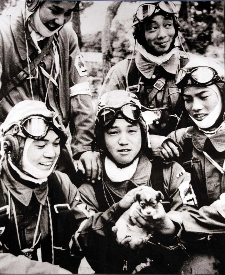 """historicaltimes: """" Kamikaze pilots petting a puppy the day before their final mission. """""""