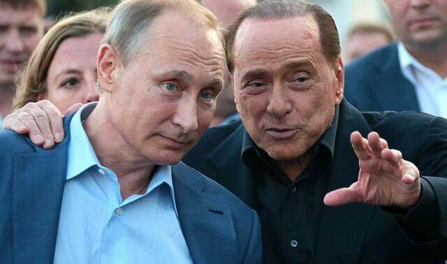 Т.И.Е. Фото из интернета. Россия.  Италия. Президенты Путин и Берлускони.
