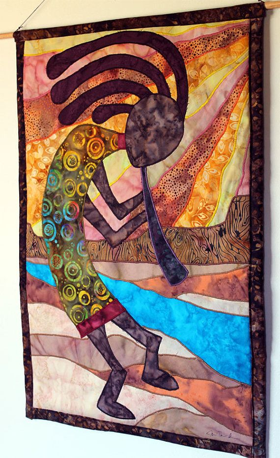 AMERICAN CONTINENT INDIAN QUILT.................PC  ..Kokopelli, Native American inspired, Art Quilt by JPG Studio 2536