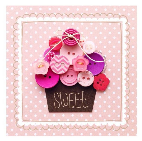 Lovely Cupcake Button Card made by http://instagram.com/art_creations99  Find more ideas, inspiration and penpals on www.snailmail-ideas.com
