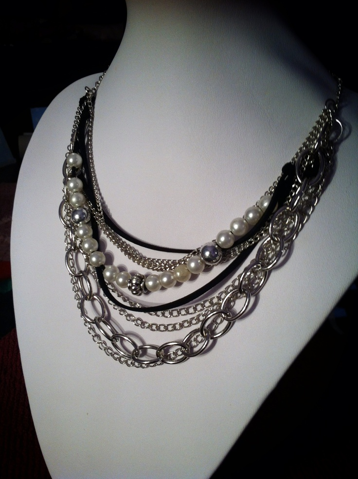 "Chains, pearls and leather necklace- from the ""Rock style"" collection"