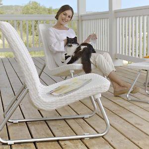 White Rattan Set Bistro Patio Furniture Set Garden Outdoor Seating Contemporary  | eBay
