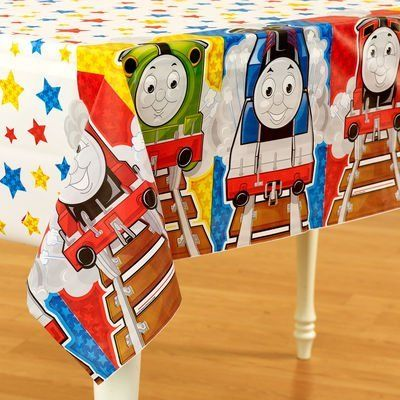 """Designware Thomas & Friends Table Cover by Amscan. $6.99. Designware Thomas & Friends Table CoverChoo Choo! All aboard the party express with Thomas & Friends. Next stop: the best birthday ever!Dimensions: 54"""" W x 96"""" L"""