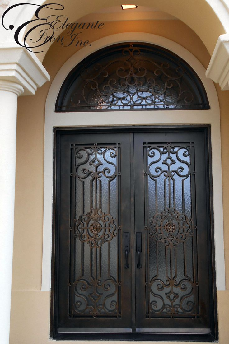 Custom Iron Front Door With Arched Transom Double Doors