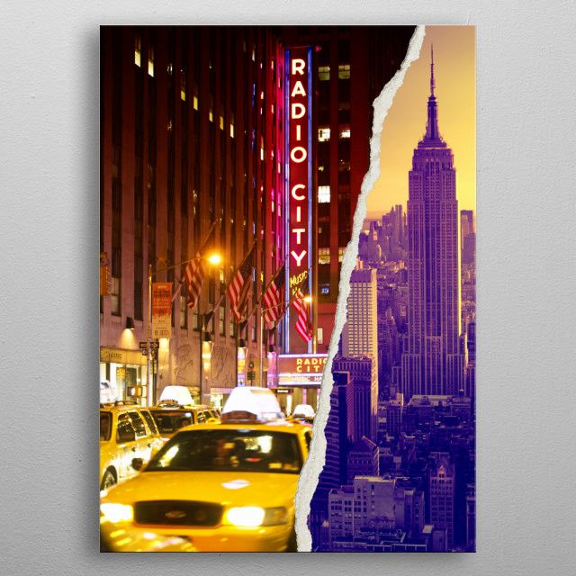 Yellow City Metal Poster Print Philippe Hugonnard Displate Manhattan Buildings Canvas Wall Art Trademark Fine Art