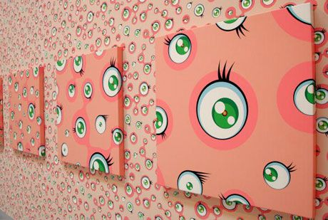 Takashi Murakami. what happen when you walk in to some room, you look arround, the room stare back to you. Thousand times..