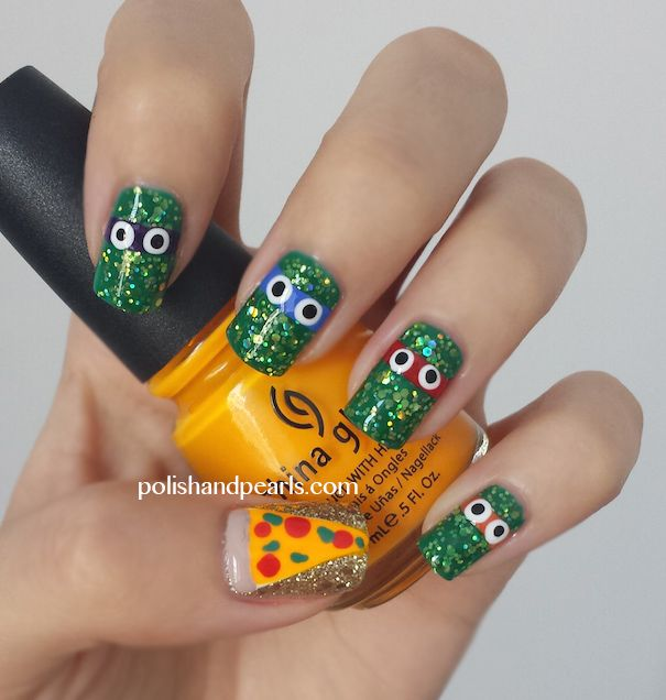 Ninja Turtle  Nail Polish Used:  Green base: essie ruffles & feathers  Green Glitter on top of the base: formula x for sephora in lightning  Gold glitter: formula x for sephora in boiling point with sephora by opi only gold for me on top  Orange: china glaze sun worshiper  -Nail Stripers: http://amzn.to/Xd9l3k -Dotting Tools: http://amzn.to/Ukb0Tp