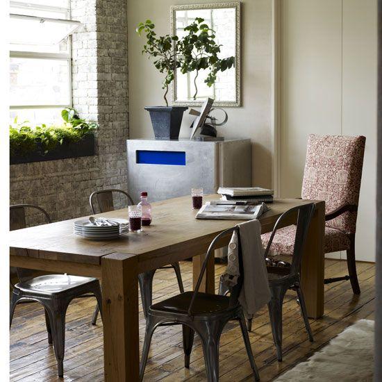 Rustic Eclectic Dining Room Hardwood Brick Metal W