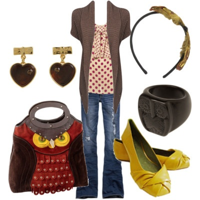 Owls - love it!: Owl Outfit, Owl Themed, Color Combos, Fashion Styles, Yellow Shoes, Owl Pur, Owl Bags, Dresses Codes, Owl Handbags