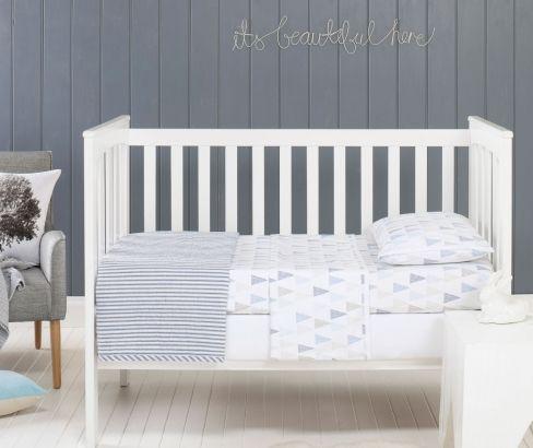 Jensen Blue Cot Sheet Set #nursery coming soon http://designerschoice.com.au