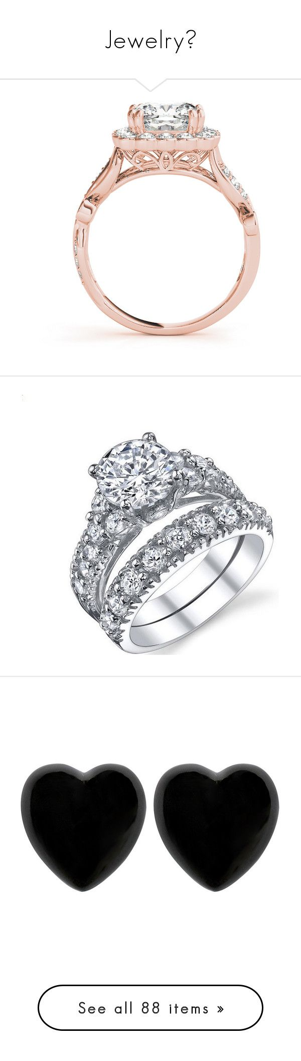 """""""Jewelry"""" by skh-siera18 ❤ liked on Polyvore featuring jewelry, rings, filigree wedding rings, square cut engagement rings, square wedding rings, rose gold ring, halo diamond engagement rings, cubic zirconia rings, diamond wedding rings and wedding rings"""