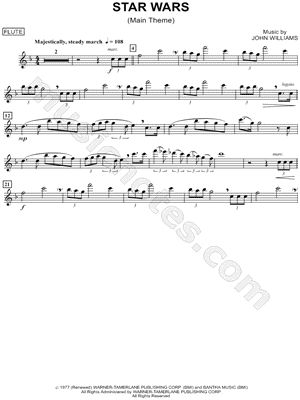 "star wars tin whistle sheet music | ""Star Wars (Main Theme) -"