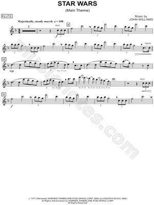 "star wars tin whistle sheet music   ""Star Wars (Main Theme) - Flute"" from 'Star Wars' Sheet Music (Flute ..."