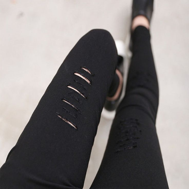 2015 Cotton High Elastic Imitate Jeans Woman Knee Skinny Pencil Pants Slim Ripped Boyfriend Jeans For Women Black Ripped Jeans