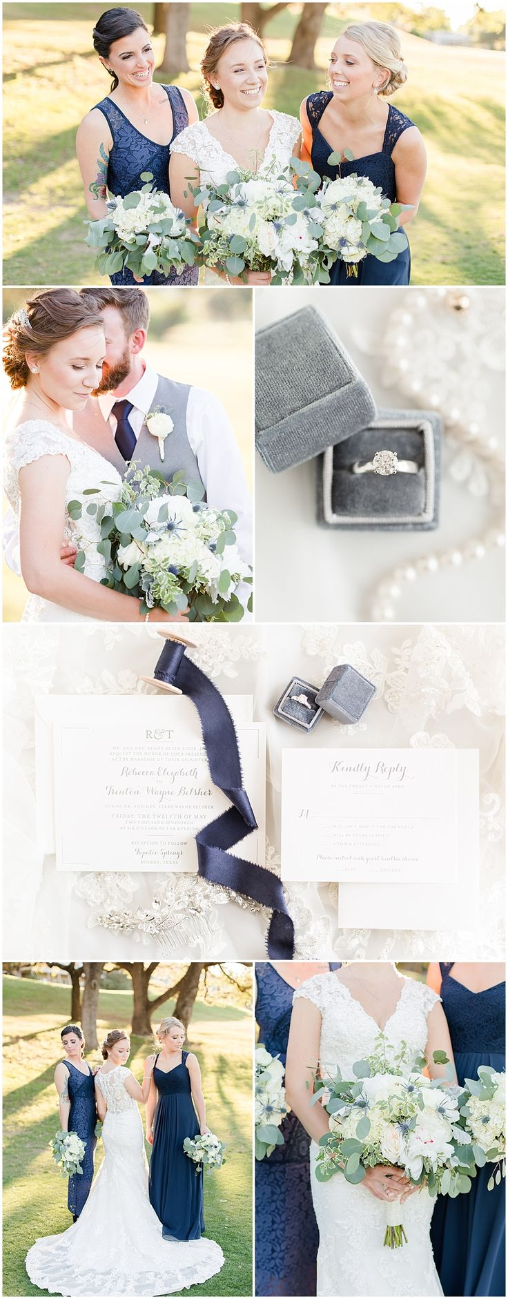 NAVY + GREY WEDDING INSPIRATION | White and Navy Bouquet | Navy Bridesmaids Dresses | Grey The Mrs Box | Navy Silk Ribbon | Grey Groomsmen Suits | Navy and Grey Wedding at Tapatio Springs Resort in Boerne Texas by Allison Jeffers Wedding Photography 0136