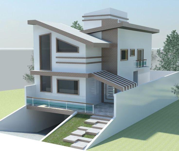Navegue por fotos de Casas modernas: Estudo com laje inclinada. Veja fotos com as melhores ideias e inspirações para criar uma casa perfeita.