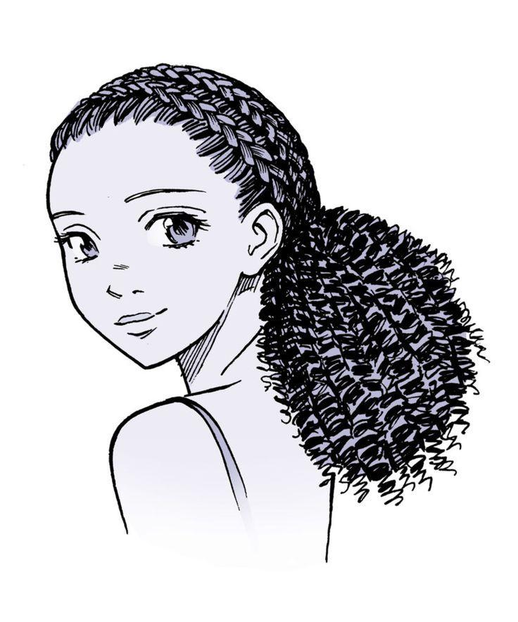 Anime Hair Manga Hair How To Draw Curly Hair Anime Curly Manga Ponytail Drawing Manga Hair Curly Hair Drawing