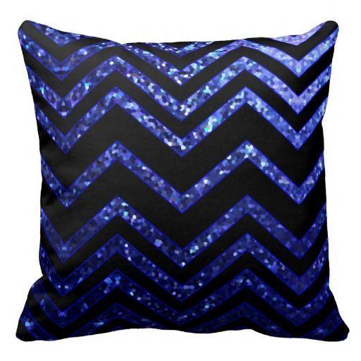 Pillow Zig Zag Sparkley Texture-Background Graphic Design of blue Zig Zag Chevron Pattern and Sparkley Texture