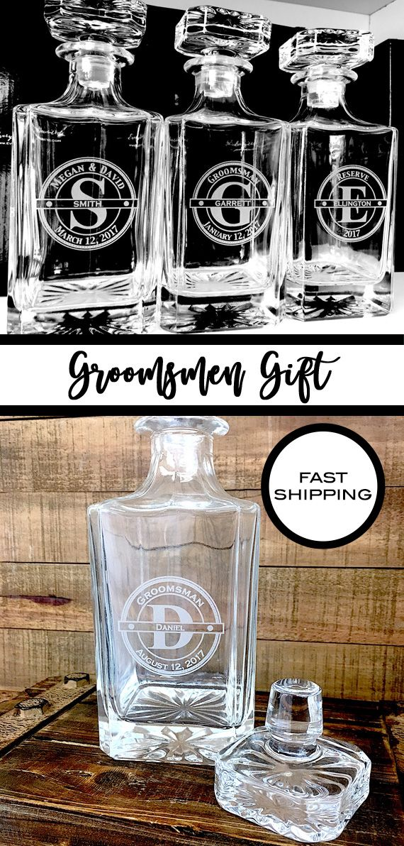 Groomsmen Gift, Custom Engraved Whiskey Decanter, Gifts for Groomsman, Wedding Party Gifts, Favorite Whiskey Decanter, Best Man Gift, Groomsmen Gifts