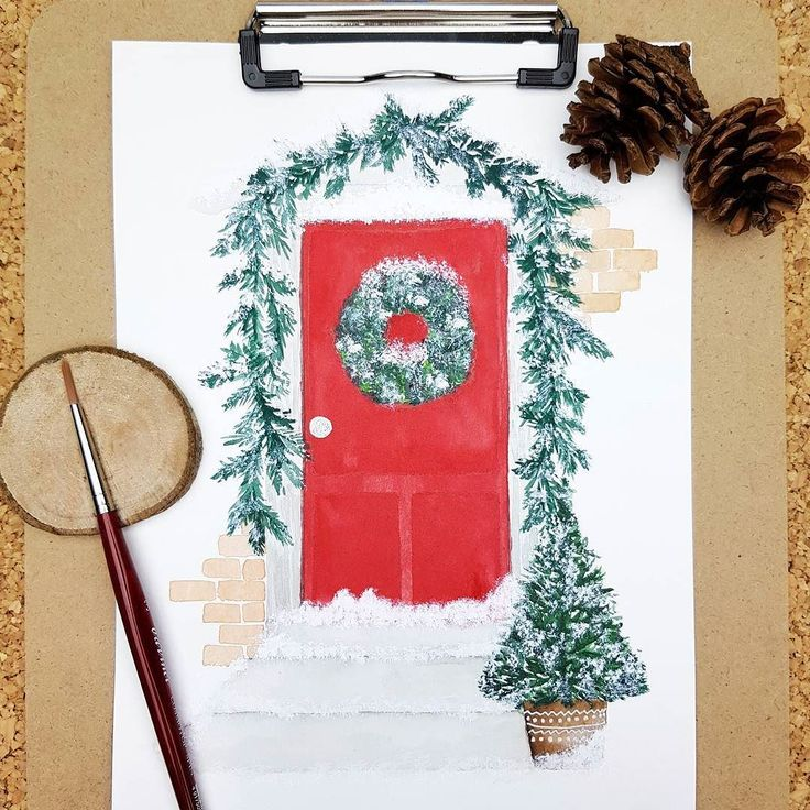 Red Christmas door watercolor illustration  love the combination of red and green!