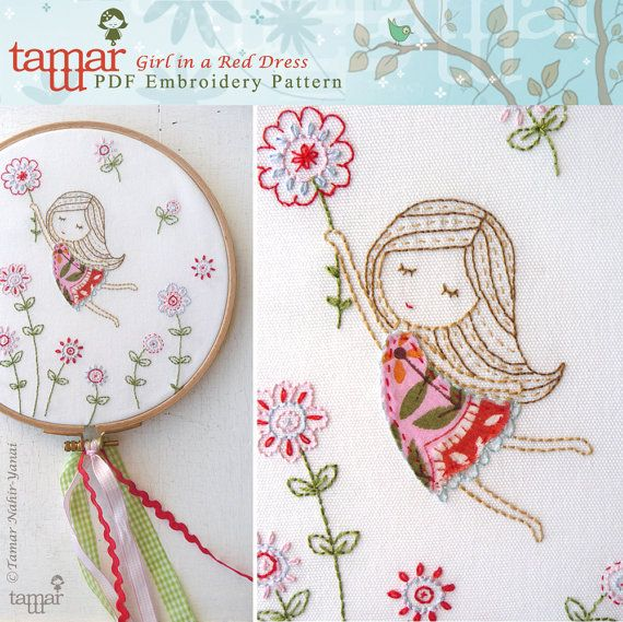Embroidery Patterns Baby Girl Girl in a Red par TamarNahirYanai  Rinds me of work my grandmother used to do.