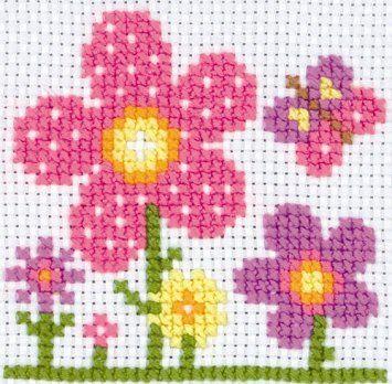 Anchor Sarah First Cross - Kit de punto de cruz para niños, diseño de flores