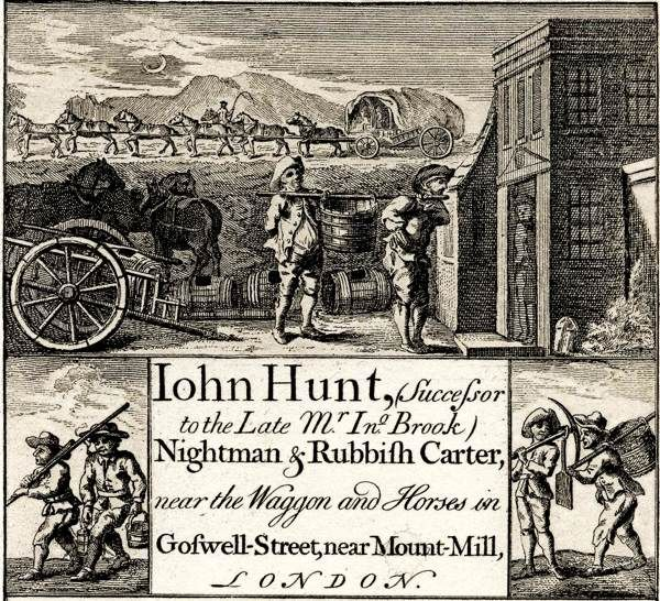A lovely Trading (Business) Card for a very necessary but highly unpleasant job - but someone had to do it! John Hunt, Nightman and Rubbish Carter