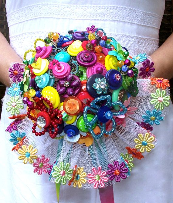 Over the Rainbow multicoloured button bouquet by brideasabuttonco, £150.00