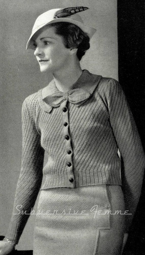 Another chic knit from Monarch Yarns, published 1934.  The cardigan is knitted with a diagonal eyelet stitch. Front buttoning, with a very sweet