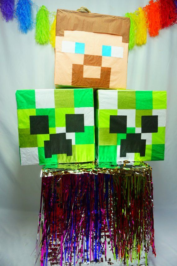 Creeper Head Pinata Inspired By The Awesome Minecraft Game