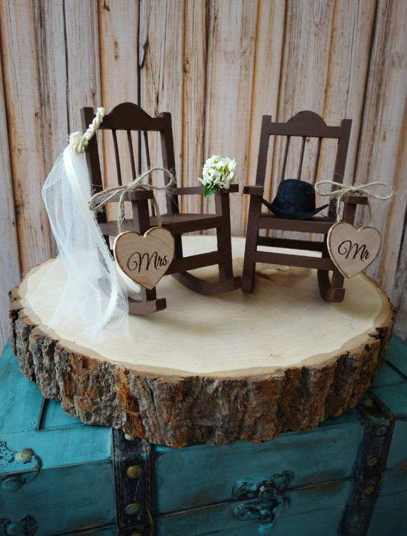 country-wedding-rocking chair-barn-rustic-cake topper-bride-groom-fall wedding-woodland-Mr-Mrs-wood-sign-country bride-ivory veil-western