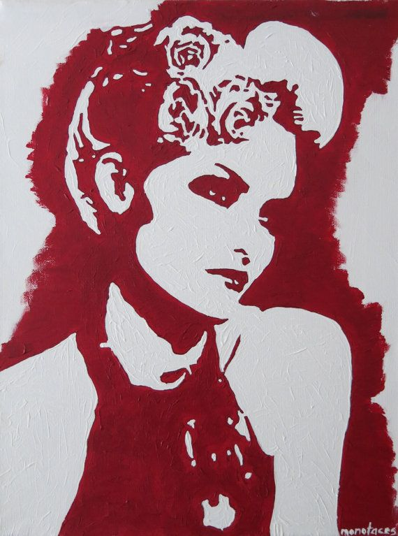 Vintage woman 39 s portrait hand painted acrylic piece of for Hand painted portraits from photos