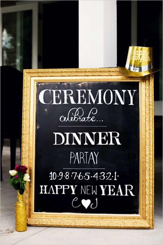gold and black wedding sign for new years eve