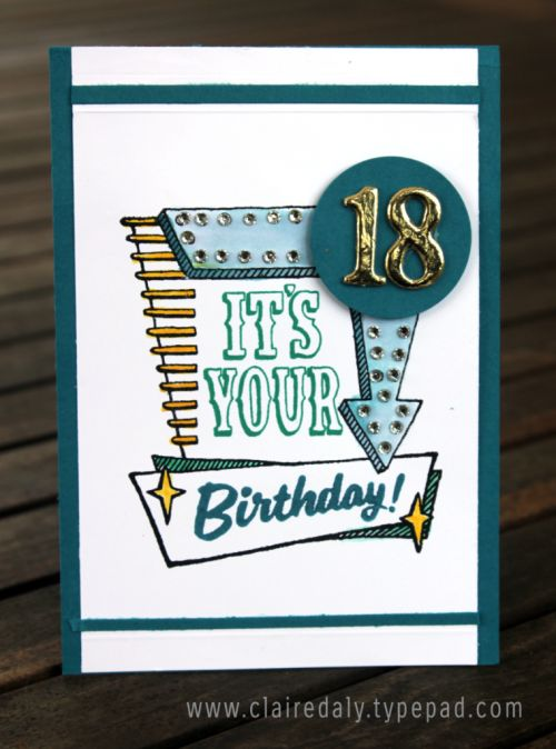 Stampin Up Marquee Messages 2016 masculine birthday card for an 18th birthday by Claire Daly Stampin' Up! Demonstrator Melbourne Australia.