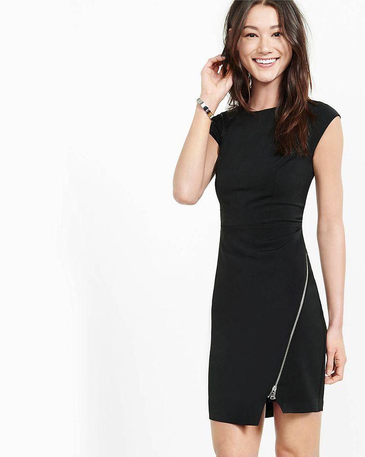 black asymmetrical zipper sheath dress