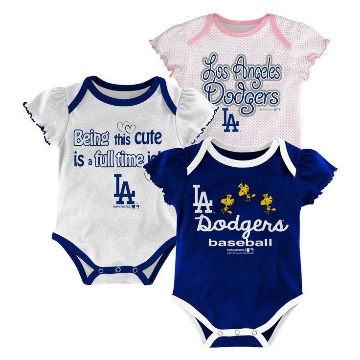 LA Dodgers Girls 3pk Bodysuit Crawlers