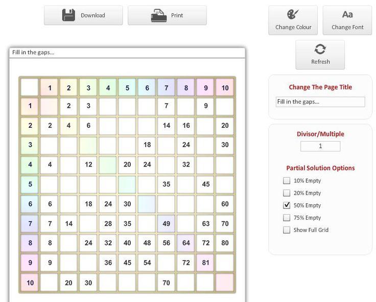 SEN Website hundred square