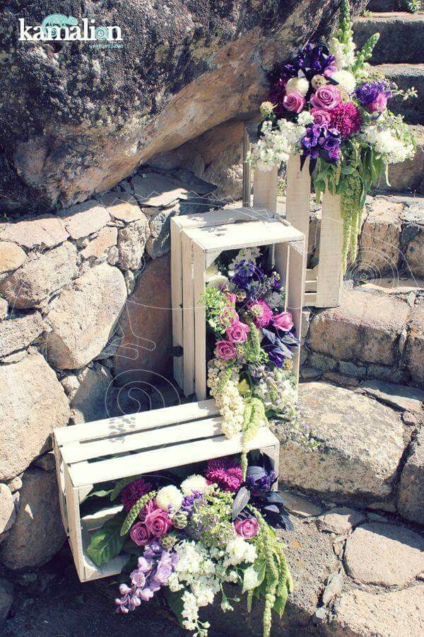 Wedding floral decor with crates for stairs