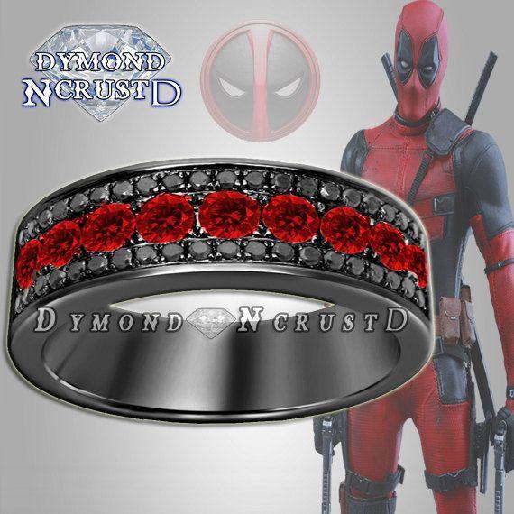 Men's Deadpool Inspired Garnet & Black Swarovski Engagement Ring Band