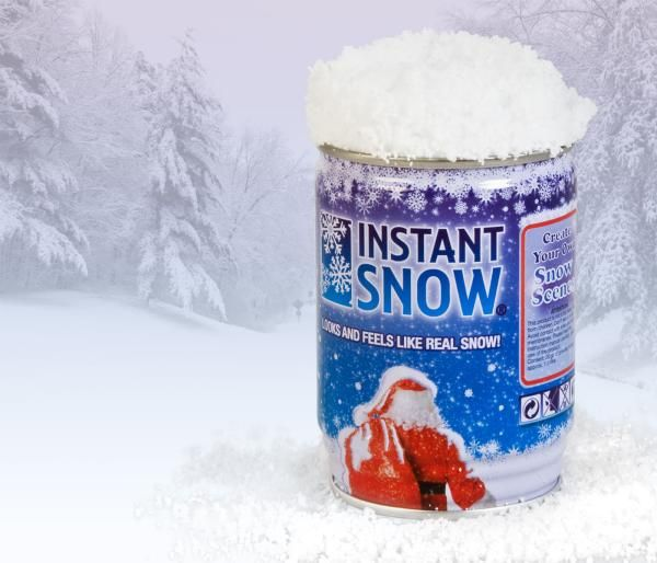 Instant Snow in a Can...Let it snow, let it snow... let it snow!  Did you know that winter fun is just 3 easy steps away?    You just pop open the can, sprinkle the snow, add a little water and BOOM!... Instant Snow!  Don't you wish all things in life with this simple?      Instant Snow In A Can is 100% certifiably the best stocking stuffer EVER!