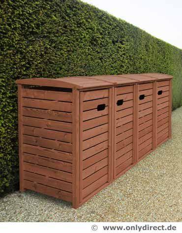 4 x 120 Liter Müllbox STANDARD - Asiatische Zeder