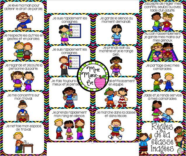 17 affiches des règles de la classe accompagnées d'une image en guise de référentiel.
