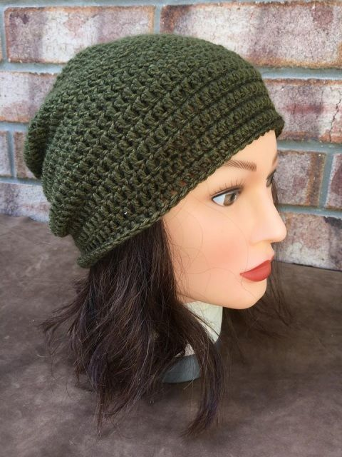 Army Green Crocheted Beanie
