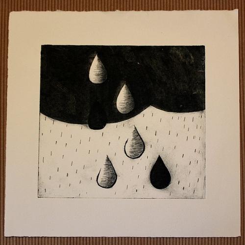 rain cloud - drypoint etching in paynes grey